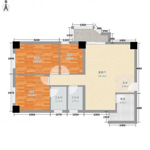 祥和花园3室1厅2卫1厨98.00㎡户型图