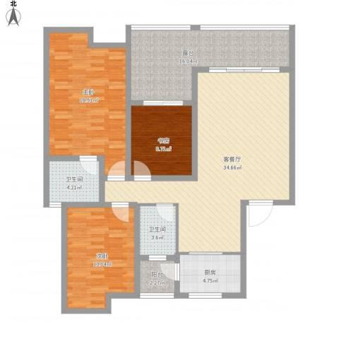 福康瑞琪曼国际社区3室1厅2卫1厨152.00㎡户型图