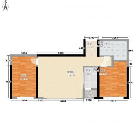 公园大道2室1厅1卫1厨76.55㎡户型图