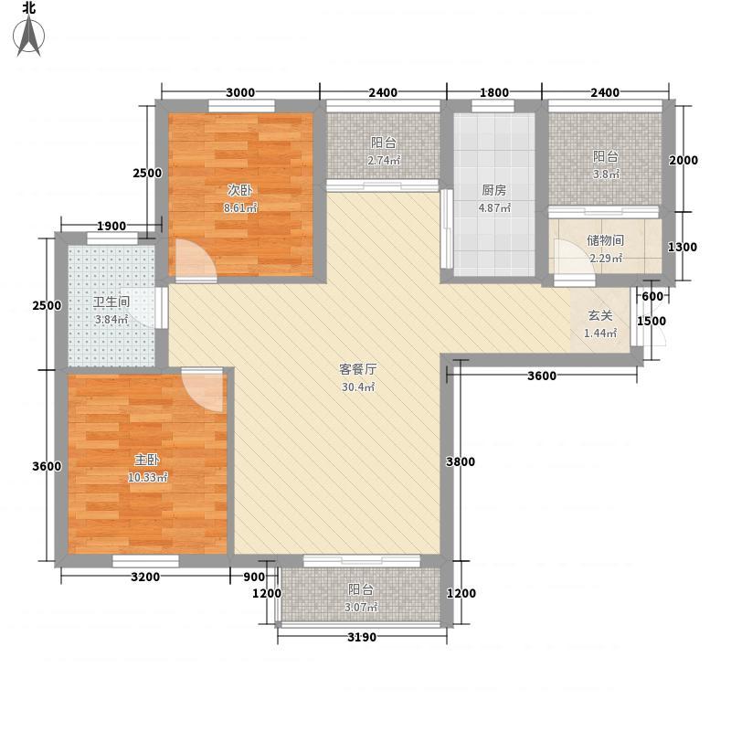 豫发大运城白鹭源2室1厅1卫1厨69.96㎡户型图