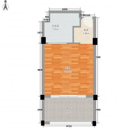 灵山元一天邑1室0厅1卫0厨57.00㎡户型图