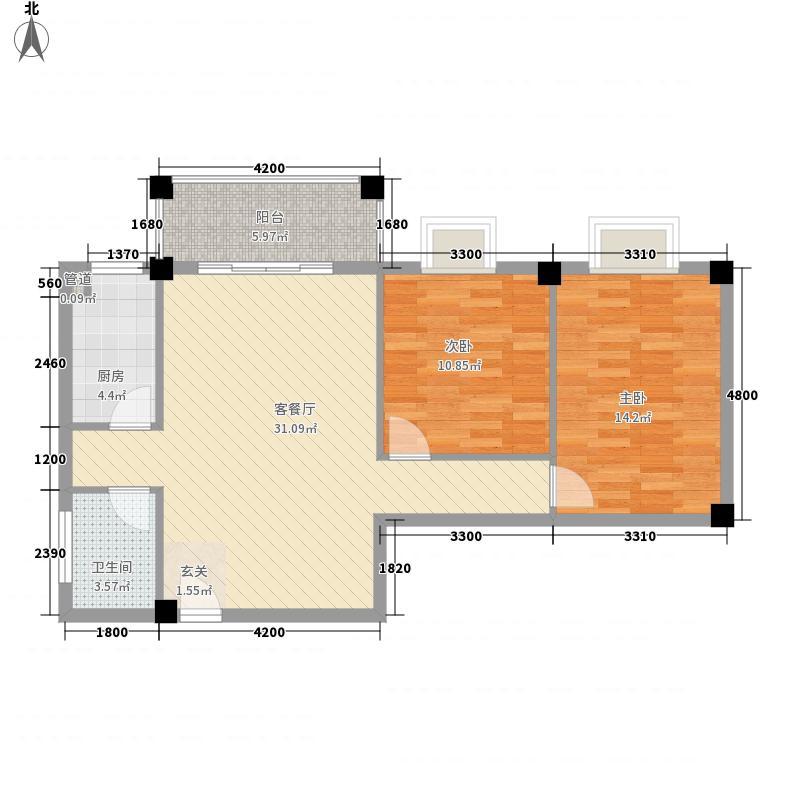 鼎鑫82.38㎡小区2幢0户型2室2厅1卫1厨