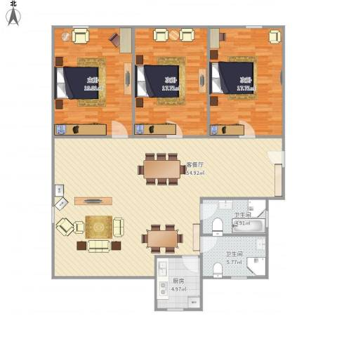 三盛颐景园-322-1323室1厅2卫1厨132.00㎡户型图