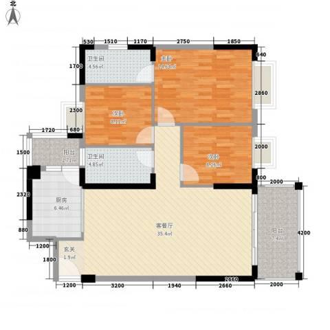 四洲城市经典3室1厅2卫1厨126.00㎡户型图