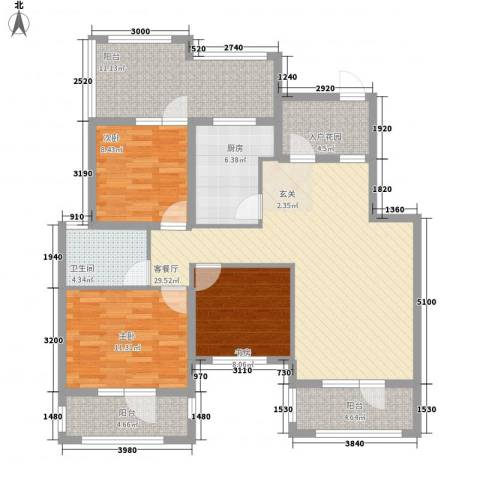 尚湖・骏城3室1厅1卫1厨92.96㎡户型图