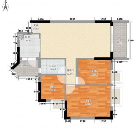 美的简岸花园3室1厅1卫1厨84.00㎡户型图