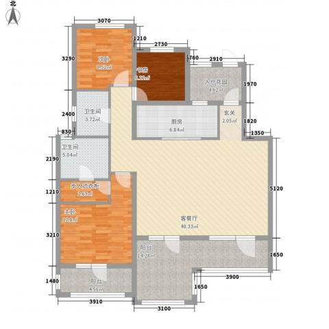 尚湖・骏城3室1厅2卫1厨132.00㎡户型图