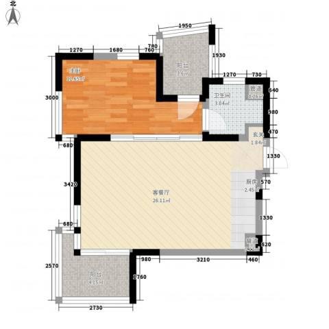 陵水红�香水湾1室1厅1卫0厨79.00㎡户型图