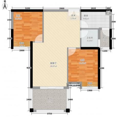 荷兰水乡2室1厅1卫1厨78.00㎡户型图