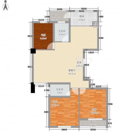柳岸晨韵3室1厅2卫1厨133.00㎡户型图