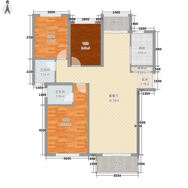 豫发大运城白鹭源3室1厅2卫1厨95.49㎡户型图