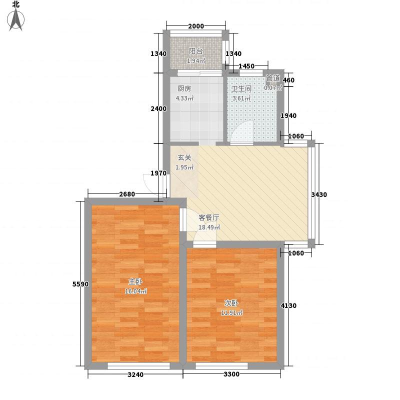 玉龙水岸73.60㎡标准层P户型2室1厅1卫1厨
