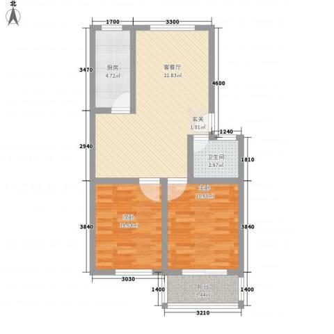 金色水岸2室1厅1卫1厨78.00㎡户型图
