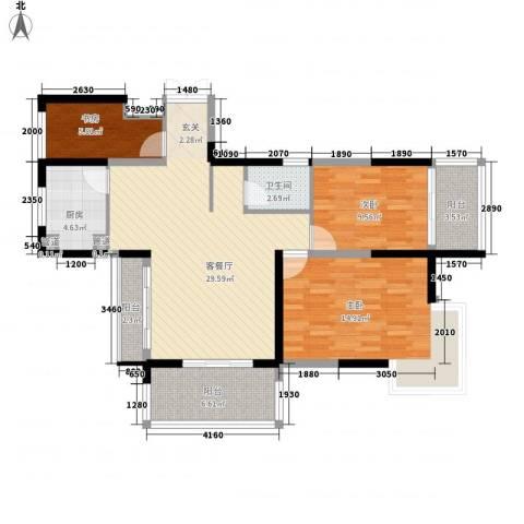 大唐世纪豪庭3室1厅1卫1厨116.00㎡户型图