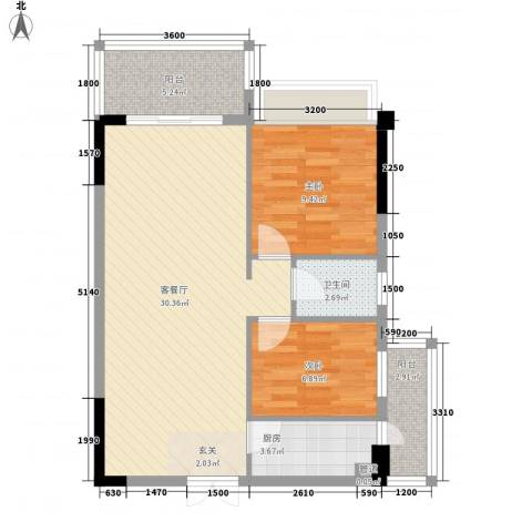 华侨新苑2室1厅1卫1厨62.00㎡户型图