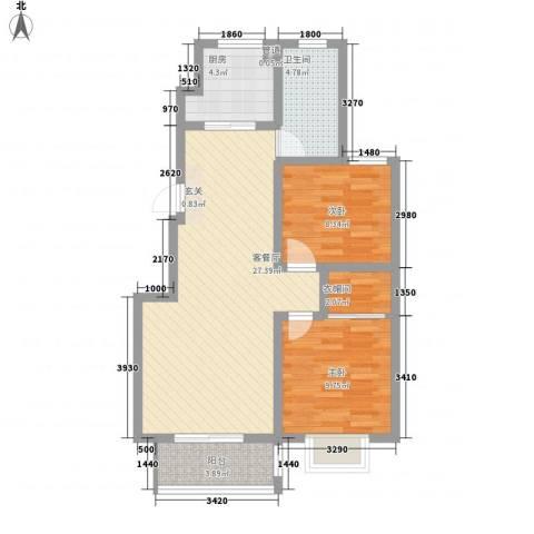 泰和名都2室1厅1卫1厨60.58㎡户型图