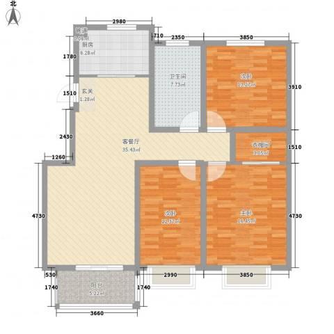 泰和名都3室1厅1卫1厨99.87㎡户型图