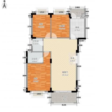 大信芊翠家园3室1厅2卫1厨124.00㎡户型图