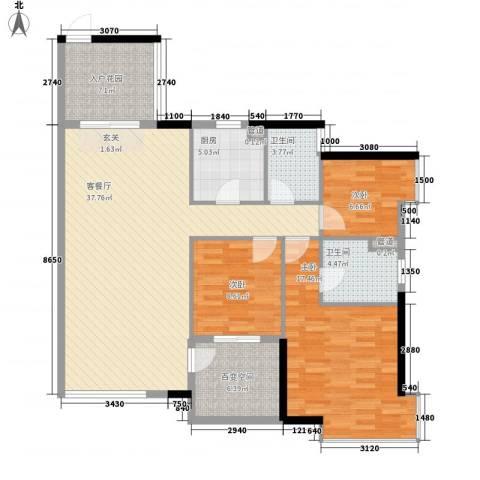怡和苑3室1厅2卫1厨124.00㎡户型图