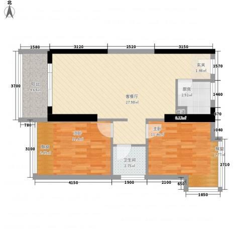 金象领域2室1厅1卫1厨88.00㎡户型图