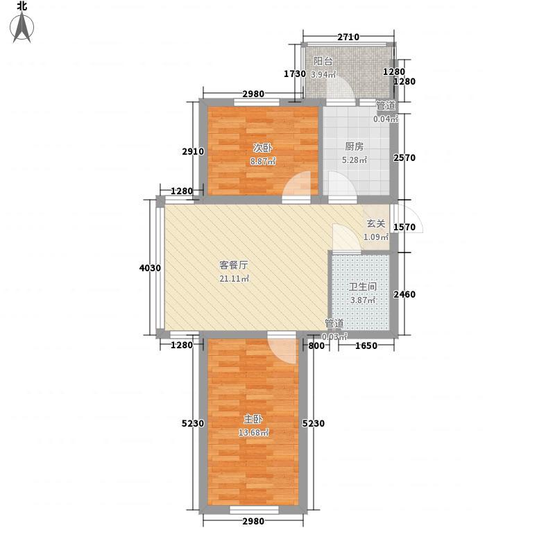 弘基世纪城48.25㎡一期26-29号楼户型2室1厅1卫1厨