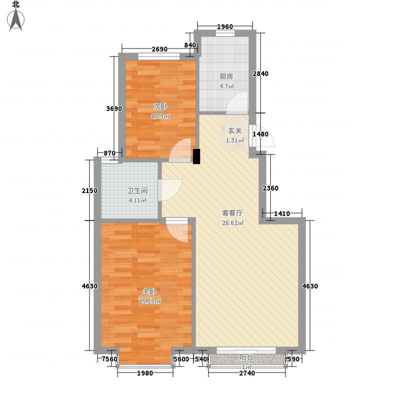 都霖馨苑85.00㎡二期11#K2户型2室2厅1卫1厨