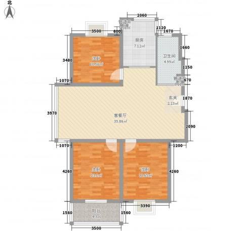 文昌花园3室1厅1卫1厨126.00㎡户型图