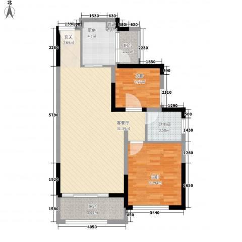 山水新城2室1厅1卫1厨94.00㎡户型图