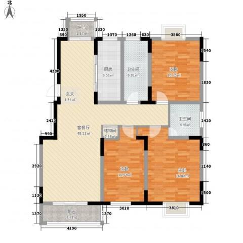 雍华府3室1厅2卫1厨156.00㎡户型图