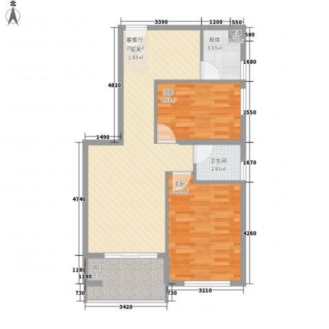 源泉海景公寓2室1厅1卫1厨76.00㎡户型图