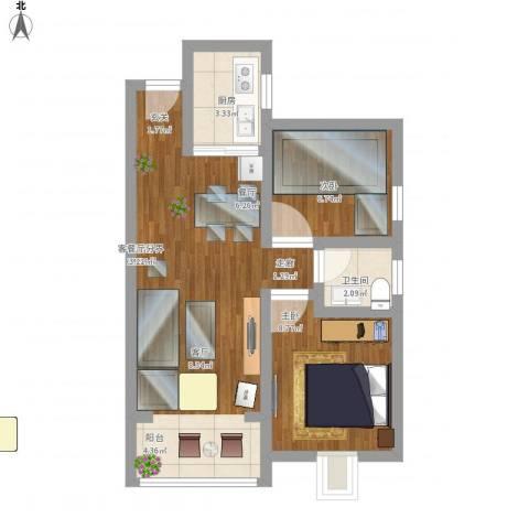 岸芷汀兰2室1厅1卫1厨66.00㎡户型图