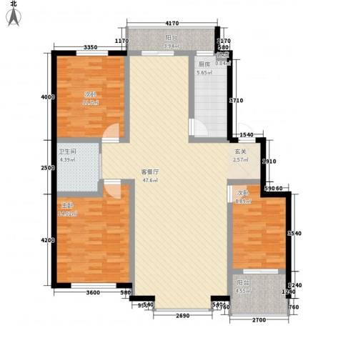 晟源御景湾3室1厅1卫1厨114.41㎡户型图