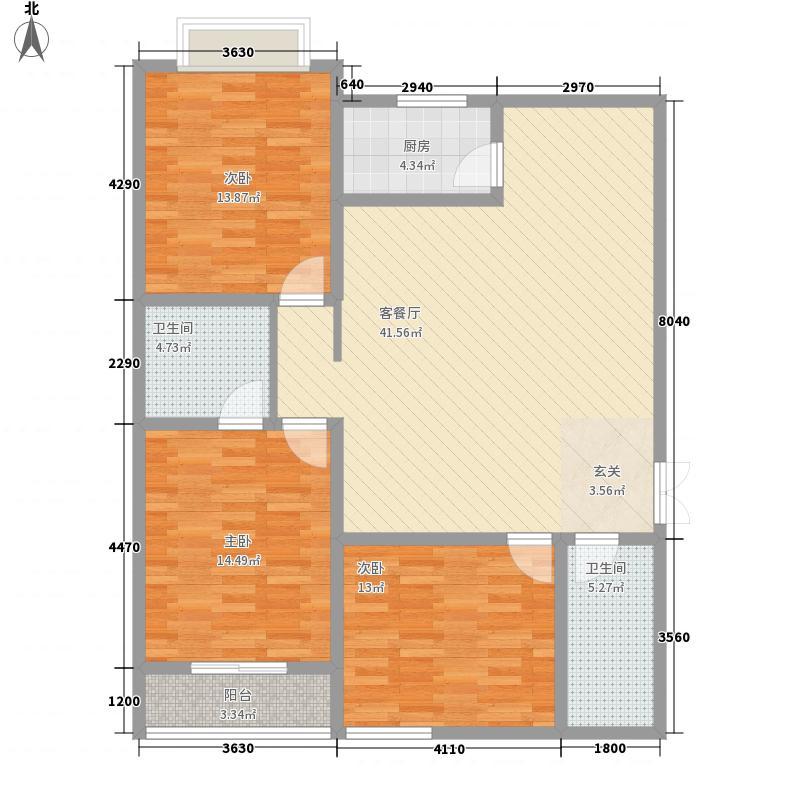 景泰花苑14.84㎡A2号楼H户型3室2厅2卫1厨
