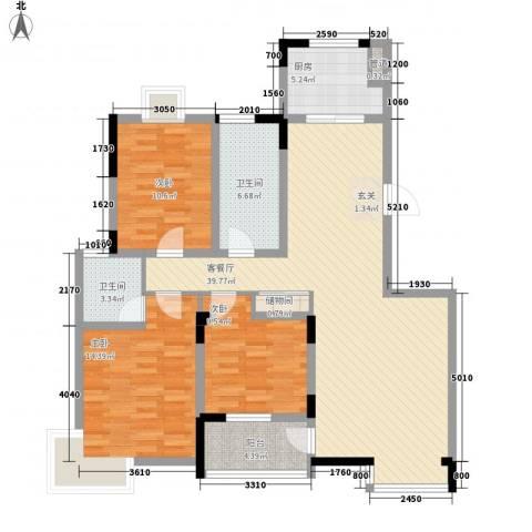 雍华府3室1厅2卫1厨137.00㎡户型图