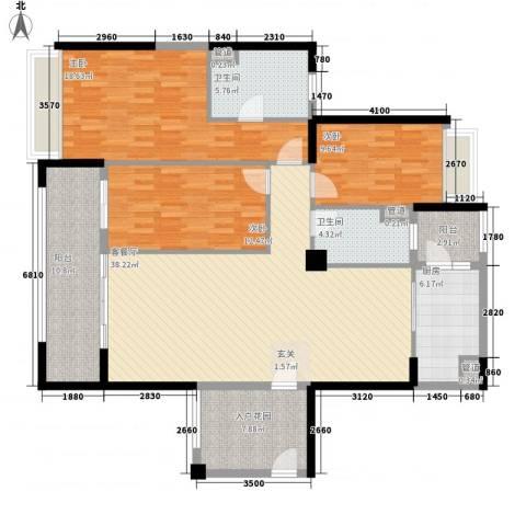 中颐海伦堡3室1厅2卫1厨128.00㎡户型图