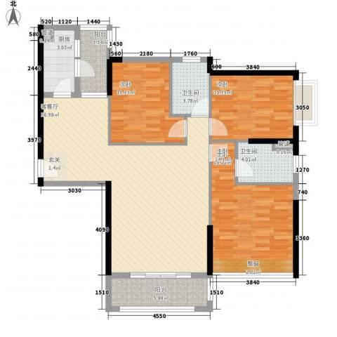 中颐海伦堡3室1厅2卫1厨129.00㎡户型图