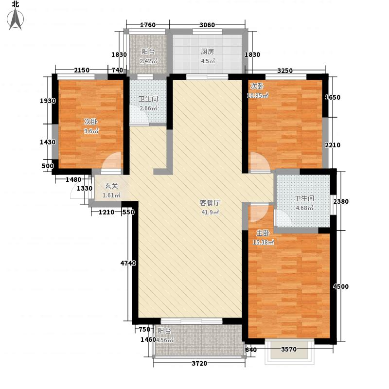 晖达新天地138.37㎡4-B户型3室2厅2卫1厨