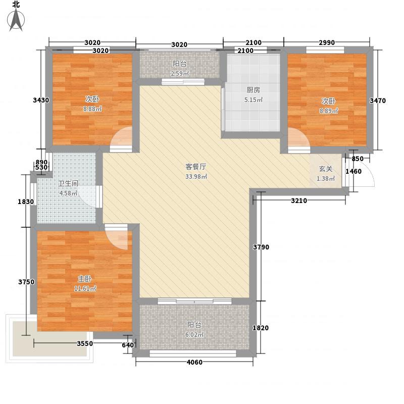 李沧万达广场118.15㎡二期4#楼E户型3室2厅1卫
