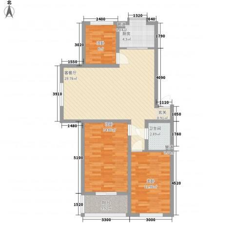 圣煜陆加壹3室1厅1卫1厨106.00㎡户型图