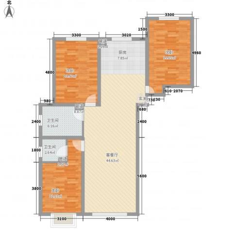 七彩阳光3室1厅2卫0厨133.00㎡户型图