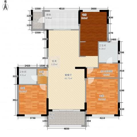 金地澜悦2室1厅2卫1厨133.23㎡户型图