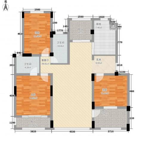 半岛蓝湾3室1厅2卫1厨145.00㎡户型图