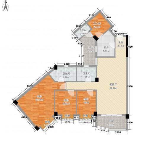嘉多利山花园3室1厅3卫1厨146.00㎡户型图