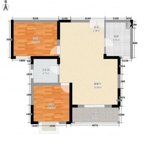 渝景新天地2室1厅1卫1厨72.60㎡户型图