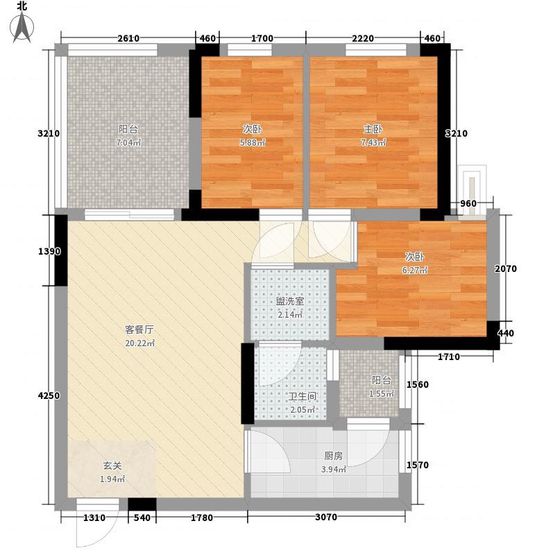 龙光峰景华庭81.17㎡7栋A座2-18层05单元户型2室2厅1卫1厨