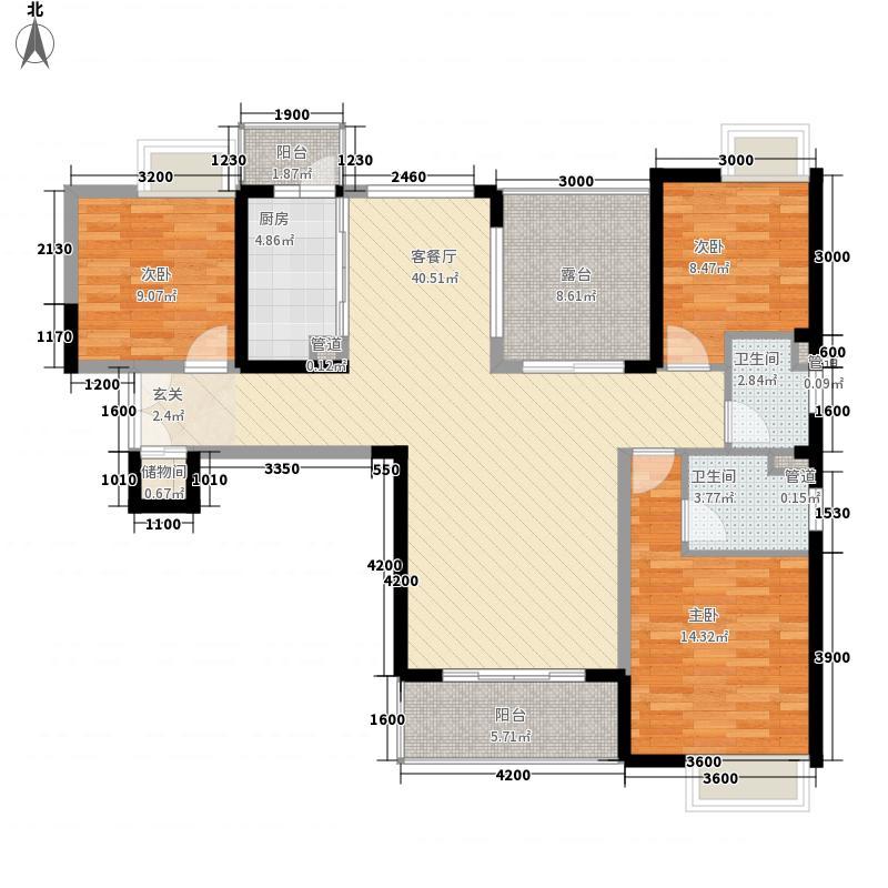 长安万达广场13.00㎡2、4、5、6栋标准层D2户型3室2厅2卫1厨