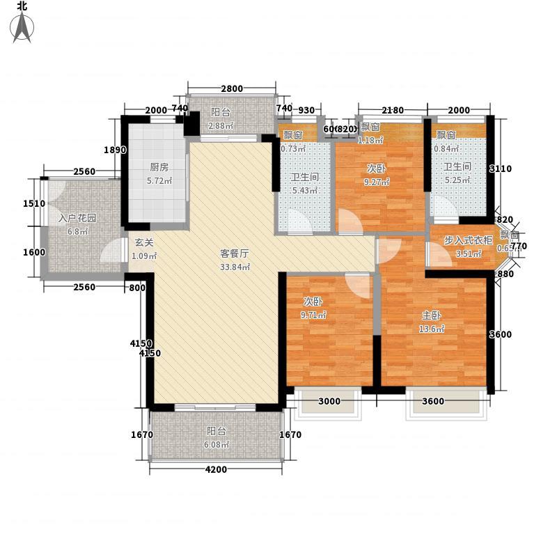 长安万达广场131.00㎡1-9栋标准层D1户型3室2厅2卫1厨