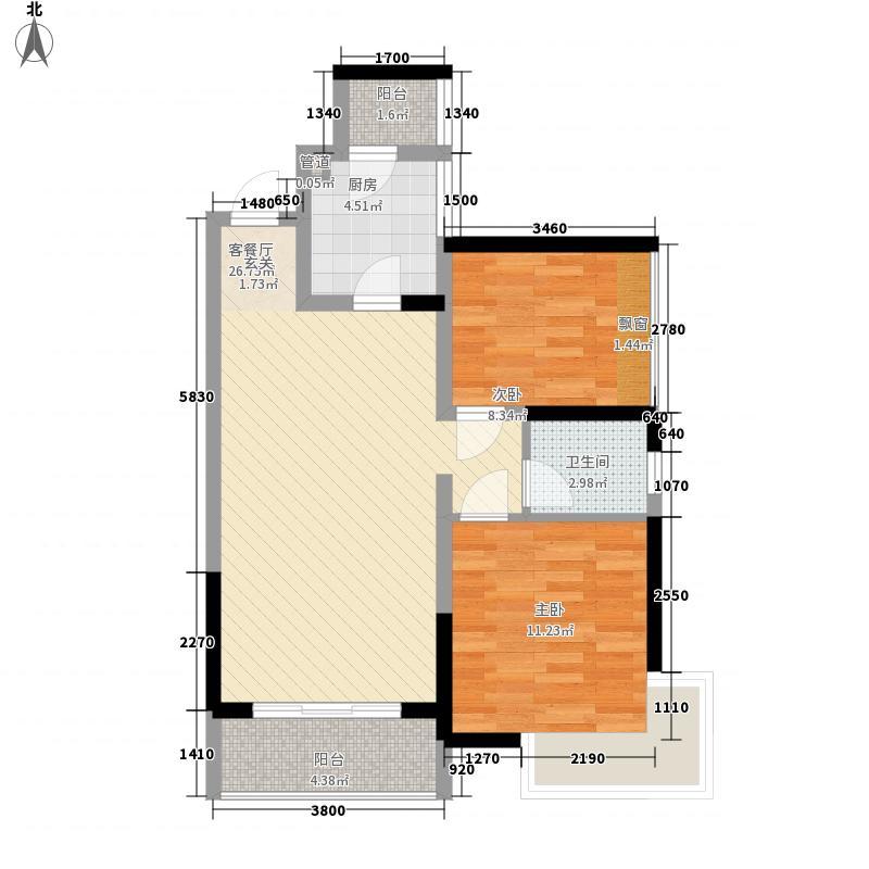 嘉宏公园1号78.00㎡12栋01单元、14栋02单元锦葵光年户型2室2厅1卫1厨
