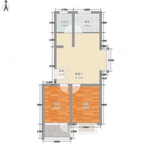 金色水岸2室1厅1卫1厨72.00㎡户型图