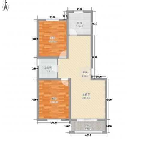 渝景新天地2室1厅1卫1厨85.00㎡户型图